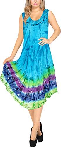 (LA LEELA Women Floral Plus Size Caftan Dress Hand Tie Dye Bright Blue_Y887 US Size)