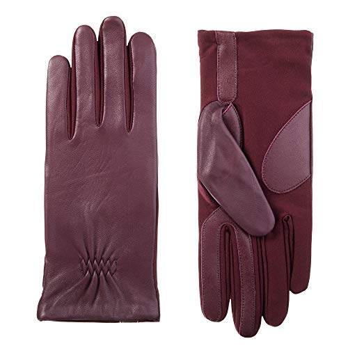 - ISOTONER Women's Stretch Leather Touchscreen Gloves with Warm Fleece Lining.