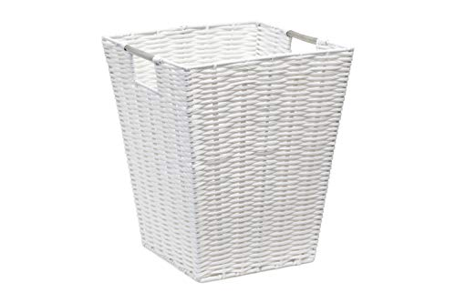 ARPAN Waste Paper Bin White Resin Plastic Strong Square Basket Storage Ideal for Home, Office, Hotels ()