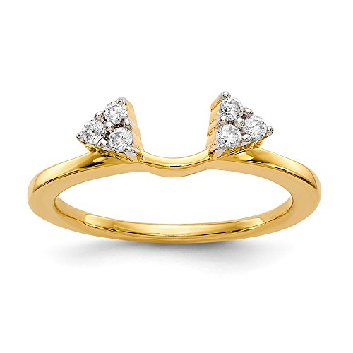14K Yellow Gold Solitaire Diamond Enhancer Ring Guard Wrap (0.15CT,H-SI2)