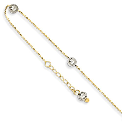 Heart Beaded 14k (14k Two Tone Yellow Gold Mirror Beaded Anklet Ankle Beach Chain Bracelet Fine Jewelry For Women Gift Set)