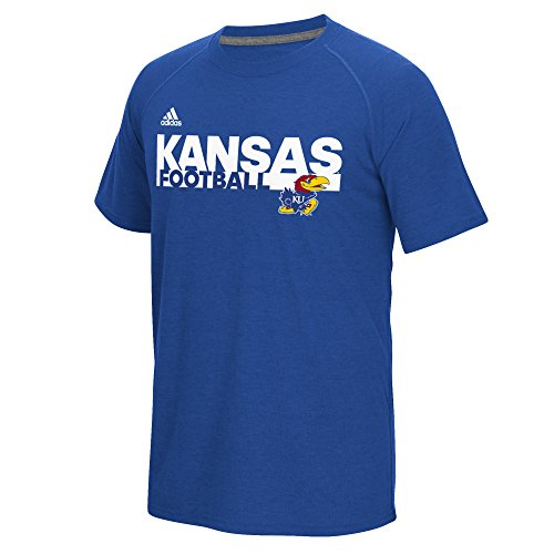 adidas NCAA Kansas Jayhawks Men's Sideline Grind Football Climalite Ultimate Short Sleeve Tee, Collegiate Royal, Large