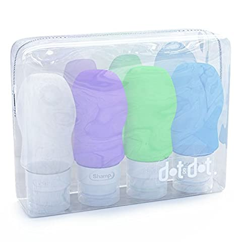 Dot&Dot Travel Bottles - 4 Piece Set of 2 oz Leak Proof Travel Containers for Travel Size - Suave Spray Baby Powder