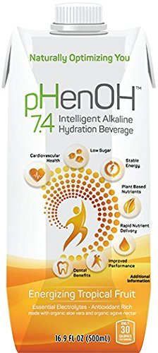 Phenoh 7.4 Alkaline Beverage Energizing Tropical Fruit, 16.9 oz., Case of 12 - Energizing Mixed Berry Drink