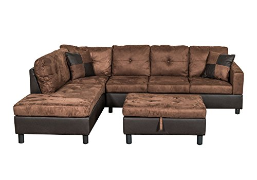Legend 3 Piece Microfiber And Faux Leather Right Facing Sectional
