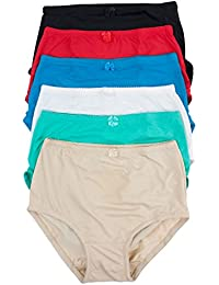 Women's 6 Pack High Waist Cool Feel Brief Underwear Panties S-5xl