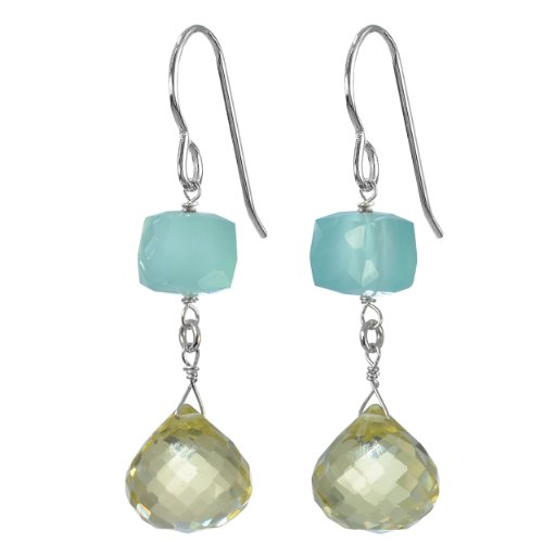 Tangy Lemon Quartz Briolette and Aqua Chalcedony Natural Gemstone Sterling Silver Handmade Earrings by ASHANTI (Earrings Blue Quartz Briolette)