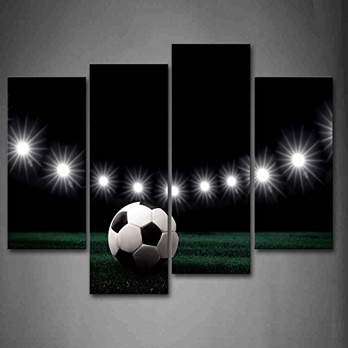 Soccer Oil Painting - First Wall Art - Eleven White Lights And A Soccer Wall Art Painting Pictures Print On Canvas Art The Picture For Home Modern Decoration