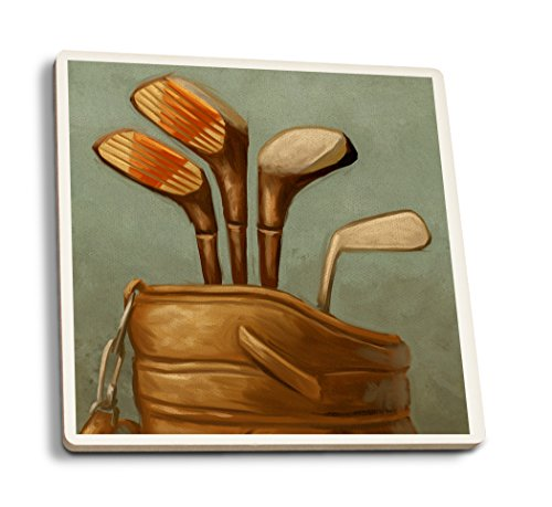 (Lantern Press Golf Clubs - Oil Painting (Set of 4 Ceramic Coasters - Cork-Backed,)