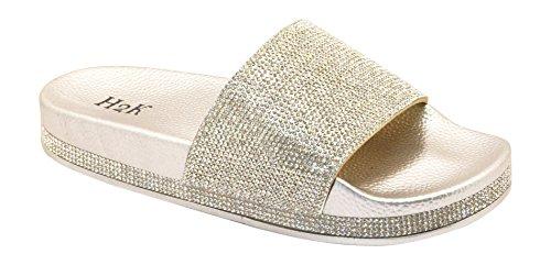 a2e91320965d H2K Women s Fashion Beach Slide Tiffany-High Silver Sparkle (8 Tiffany-high  Silver