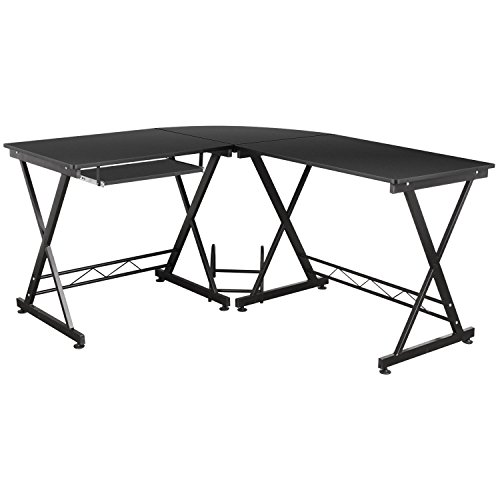 HOMFA L-Shape Corner Computer Desk PC Laptop Table Workstation with Pull-out Keyboard Shelf Home Office Black 150 x 138 x 75cm