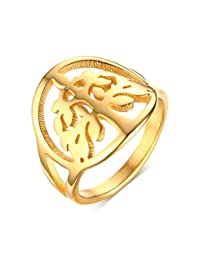 Vnox Stainless Steel Hollow-Out Tree of Life Ring,Gold,Size 6-9