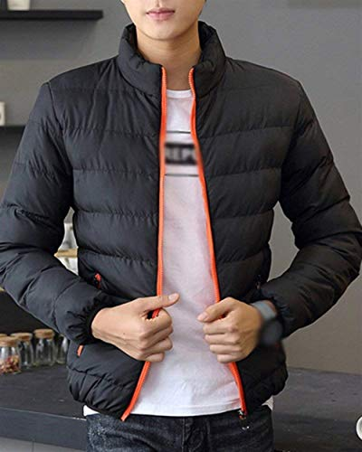 Warm Color Transition Solid Quilted Coat Casual Coat Autumn 1 Winter Jacket Hooded Orange Men's Long Coat Apparel and Sleeve Jacket qqAfw86