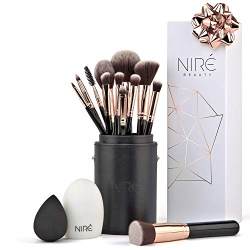 (NIRÉ BEAUTY Pro 12-Piece Makeup Brushes Set with Holder, Silicone Brush Cleaner and Blender - Rose Gold)