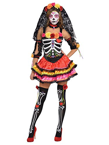 AMSCAN Day of the Dead Senorita Halloween Costume for Women, Small, with Included Accessories