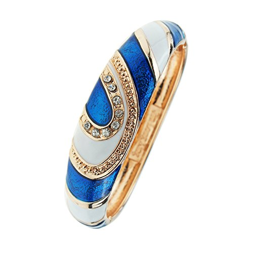 UJOY Vintage Cloisonne Bracelet Crystal Handcraft Multi-Colored Enamel Oval Hinged Cuff Bangle Jewelry Gifts 88A26 White Blue ()