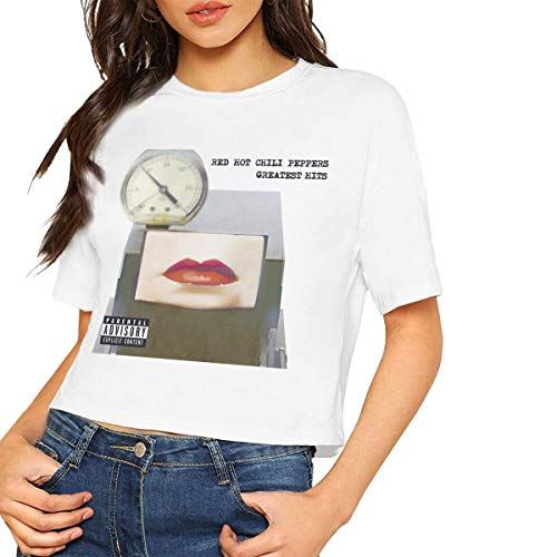 JohnHA Red Hot Chili Peppers Greatest Hits Sexy Exposed Navel Female T-Shirt Bare Midriff Crop Top Tshirts White S (Red Hot Chili Peppers Top 15 Hits)