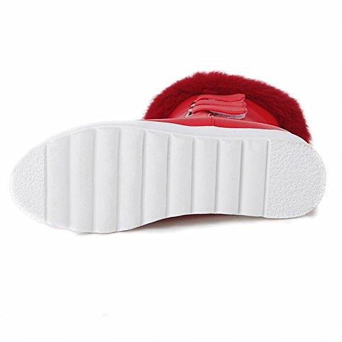 Mee Shoes Damen bequem runder toe halbschaft mit Flaum invisibel Heel Klettband Schneestiefel Rot