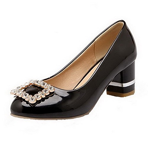 VogueZone009 Women's Solid PU Low-Heels Round Closed Toe Pull-On Pumps-Shoes Black