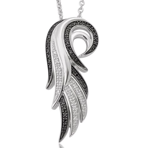 Diamond Wing Pendant (Angel Feather Wing White and Black Diamond Pendant Necklace in Sterling Silver (1/5 Carat))