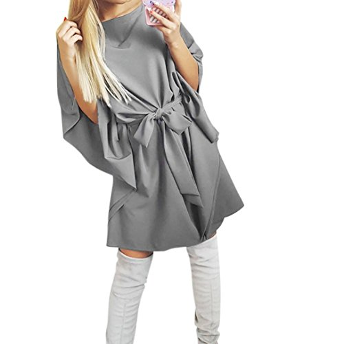 Belt Batwing (Auwer Women 3/4 Sleeve Chiffon Strapless Irregular Casual Ultra Loose Batwing Sleeve Mini Dress With Belt (S, Gray))