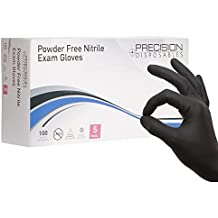 Nitrile Exam Gloves by Precision Disposables | Black 5 mil Thickness, Powder-Free, Non-Latex, Fingertip-Textured, Medical Grade, Food Safe Examination Gloves