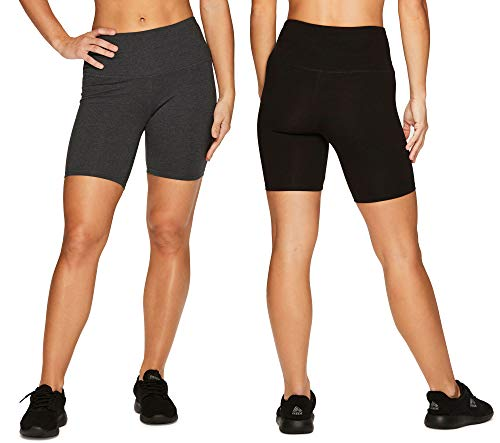 RBX Active Women's Cotton Spandex High Waist Running Bike Shorts 2-Pack Multi L
