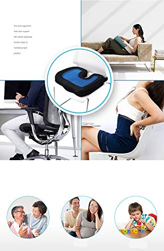 ZHANGZHIYUA Memory Seat Cushion/Back Cushion Combo, Gel Infused & Ventilated, Orthopedic Design. Perfect for Office Chair, Relieves Back, Coccyx, Sciatica,1 by ZHANGZHIYUA (Image #5)