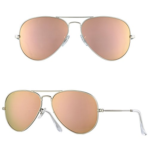 - BNUS Corning natural glass New Pilot Sunglasses for women Italy made with Polarized Choices (Frame: Matte Silver/Lens: Copper Flash, Non-Polarized)