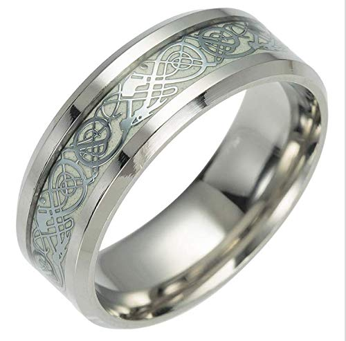QuaQui Luminous Plated Silver Ring Dark Golden Dragon Inlay Green Background Fluorescent Glowing Rings Silver3 11