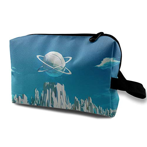With Wristlet Cosmetic Bags Futuristic City Travel Portable Makeup Bag Zipper Wallet Hangbag]()