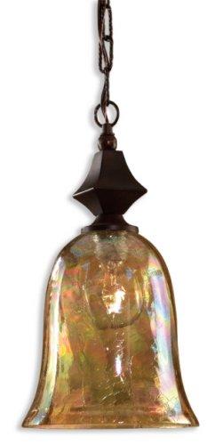 Black Banded Glass Shade (Uttermost 21812 Elba Mini Pendant, Spice Finish)