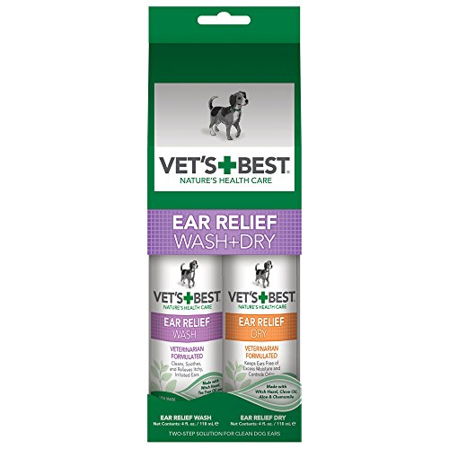 Vet's Best Ear Relief Wash & Dry for Dogs Ear Cleaner Kit (Care Best Veterinarians Cat)
