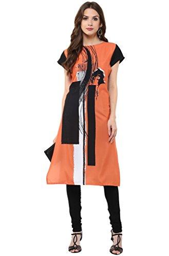 Janasya Women's Orange Casual Crepe Kurti (JNE1275-ORANGE-KR-050-S)