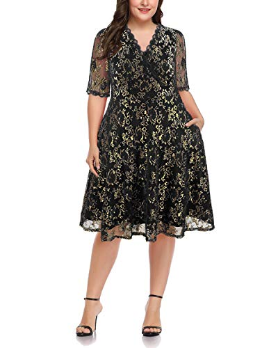 Women Plus Size Lace V Neck Short Formal Wedding Party Cocktail Dress with Pockets (Black-Gold, 14W-16W)