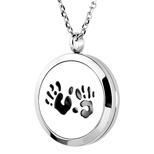 Zysta Stainless Steel Hollow Living Floating Charm Memory Locket Photo Frame Pendant, Perfume Essential Oil Fragrance Diffuser Necklace, 24 inch Chain