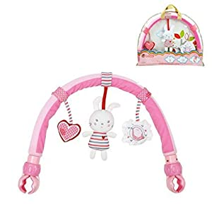 Dearmy Infant Stroller Crib Clip Hanging Toy, Baby Pram Crib Activity Plush Stuffed Rabbit Toy Kids Appease Learning…
