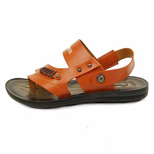 Uomini estate vera pelle sandali vera pelle Spiaggia scarpa all'aperto movimento Tempo libero sandali moda traspirante Uomini scarpa ,arancia,US=9.5,UK=9,EU=43 1/3,CN=45