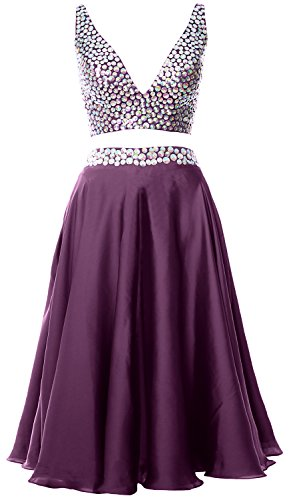 MACloth Women 2 Piece Short Prom Dress 2017 Straps V Neck Cocktail Formal Gown Eggplant