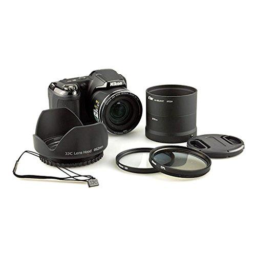 Kiwifotos L810K 62mm UV CPL Filter + Lens Adapter Tube Ring Cap Set For Nikon Coolpix L810 Camera