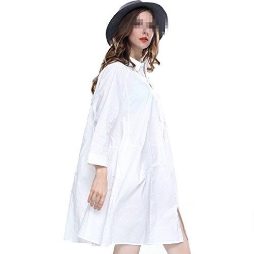 Chlxi De Gran Manga Larga La Tamaño White Y Mujer Vestido Camisa 6xpqR56w