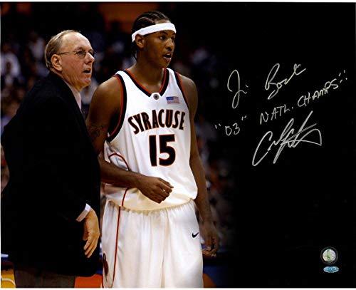 Carmelo Anthony & Jim Boeheim Syracuse Orange Signed 16x20 photograph Inscribed