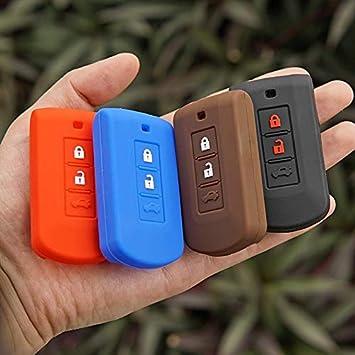 Color Name:Black Mercury/_Group Silicone Protect Key Fob Skin Cover Case Cap Set for Mitsubishi Outlander Asx Axr Rvr Nativa Pajero Montero Lancer Shogun Remote - Car Key Decor
