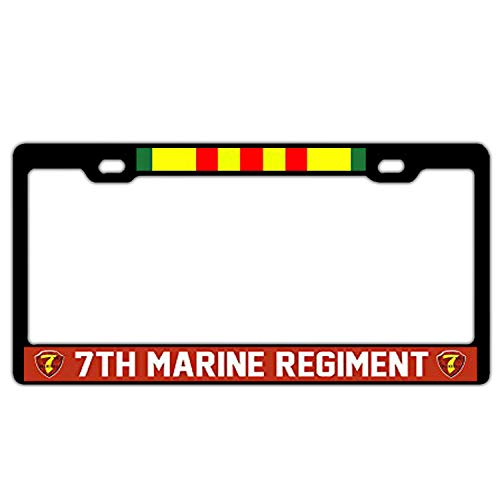 (License Plate Frame Holder Black, 7th Marine Regiment Vietnam Veteran Alumimum Metal License Plate Frame 2 Holes with Screw for US Vehicles)