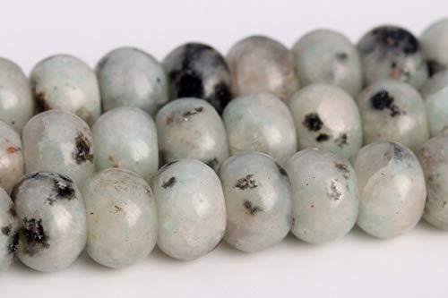 (6x4MM Natural Green Sesame Jasper Grade A Rondelle Loose Beads 15