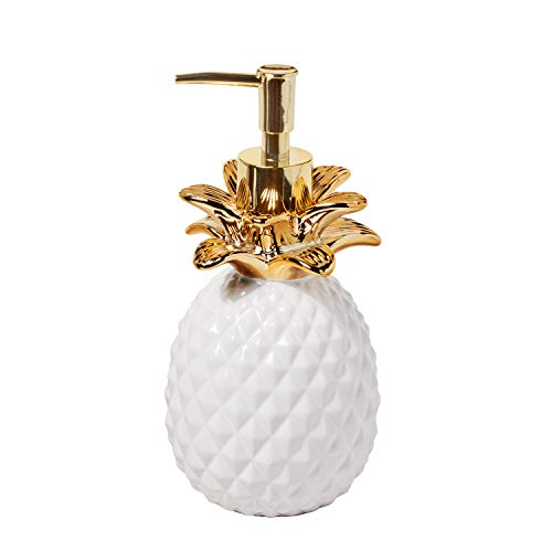 (SKL Home by Saturday Knight Ltd.  Gilded Pineapple Lotion Dispenser, White/Gold)