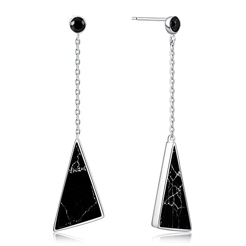 - YAXIAO-Earrings S925 Sterling Silver Female Korean Version of The Triangle Black Earrings Fashion Personality Earrings 56.515mm