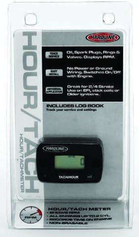 Hardline Products HR-8061-2 Hour Meter/Tachometer for up to 2-Cylinder Engines,Black