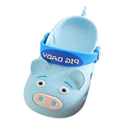 Hyiri Summer Children S Baby Boys Girls Pig Cartoon Cute Lovly Beach Sandals Slippers Flip Shoes Light Blue