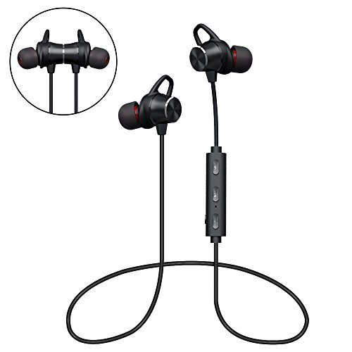 Bluetooth Headphones, GRDE Wireless Magnetic Earbuds Stereo In-Ear Earphones Noise Cancelling Running Headset with Mic for iPhone 7 Plus Samsung Galaxy Note8 Cell Phones